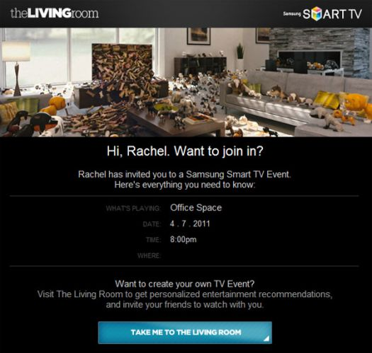 Samsung and digitas get social with smart living room for Samsung smart tv living room