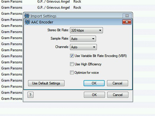 iTunes AAC Encoder Custom Settings