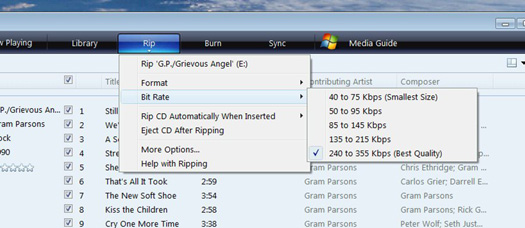 Windows Media Player Bit Rate options