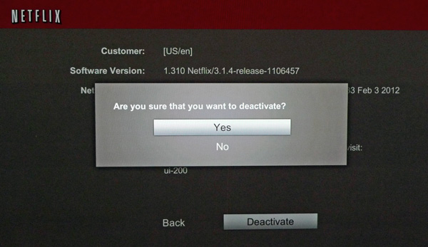 Netflix deactivation confirmation