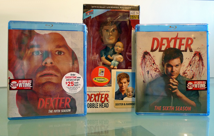 Dexter seasons 5 and 6 on Blu-ray, plus Dexter/Harrison Bobble Head