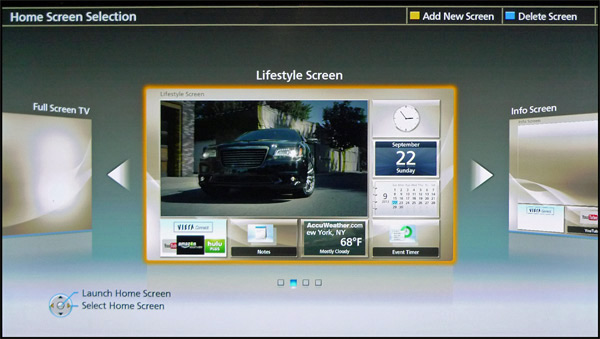 Panasonic VIERA Home Screen selection