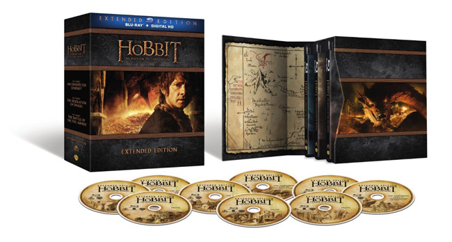 the hobbit trilogy extended edition bluray set up for pre
